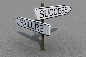 Failure Success road sign