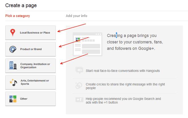 Google+ Page type